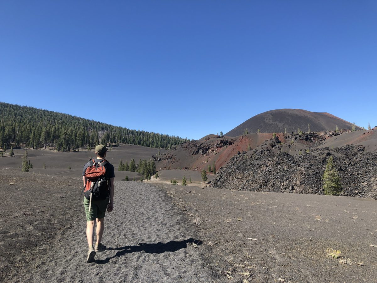 Approaching the Cinder Cone; all volcanic ash, all the time